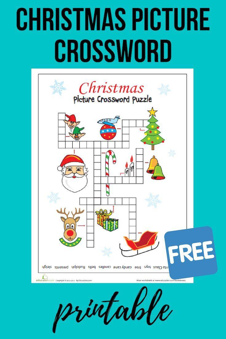 Christmas Picture Crossword   Worksheet   Education