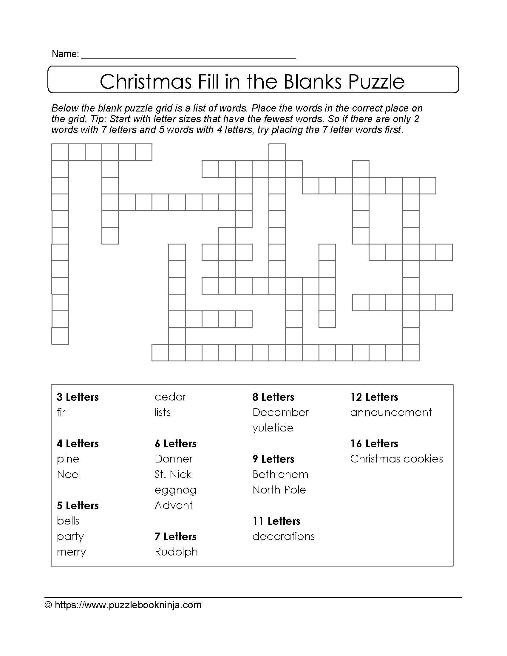 Christmas Printable Puzzle. Free Fill In The Blanks. | Fill