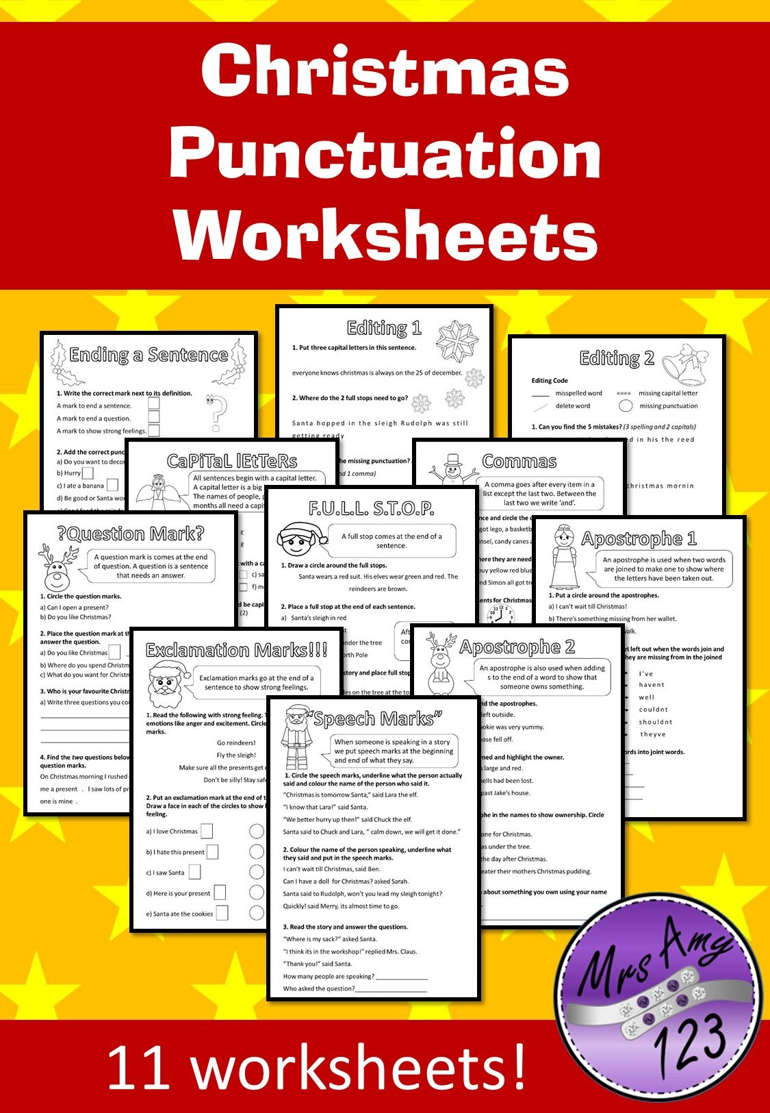 Christmas Punctuation Worksheets | Punctuation Worksheets