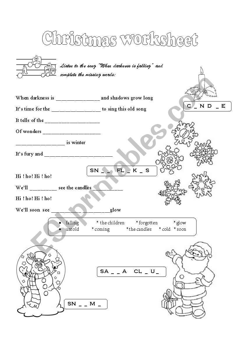 Christmas Song - Esl Worksheetchristofor