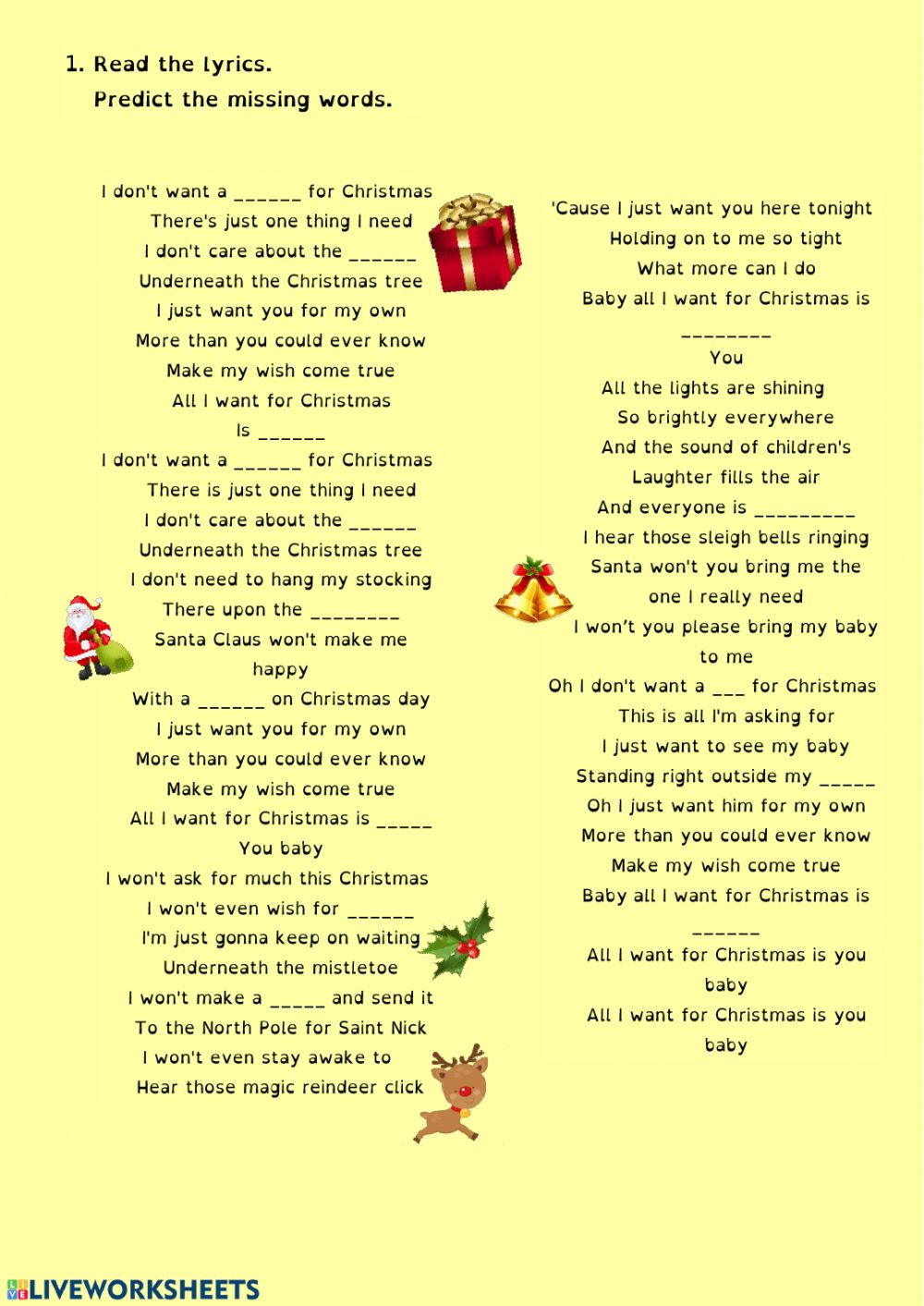 Christmas Song Worksheet Worksheet