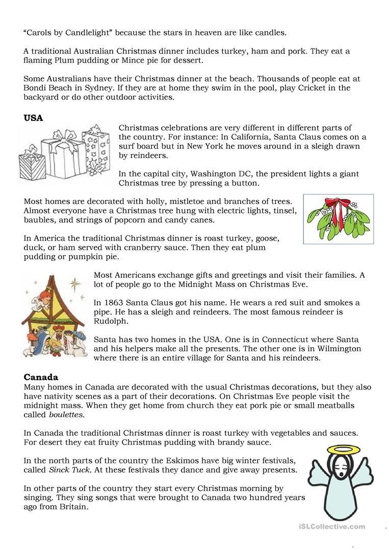 Christmas Traditions - English Esl Worksheets   Christmas