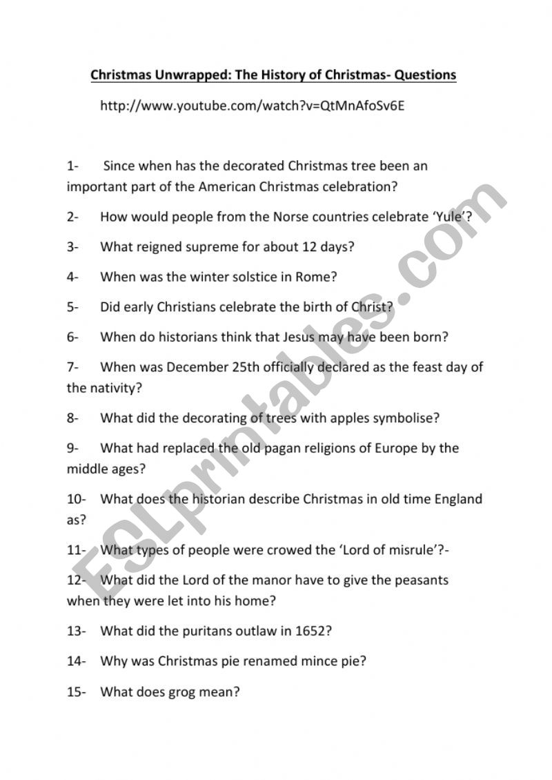 Christmas Unwrapped Documentary - Comprehension Questions