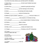 Christmas Verbs - English Esl Worksheets For Distance