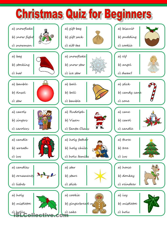 Christmas Vocabulary Quiz   Christmas Worksheets, Vocabulary