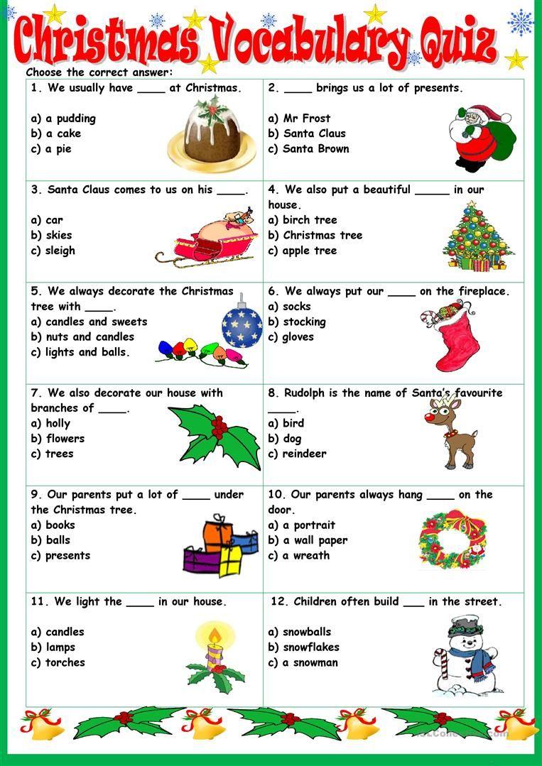 Christmas Vocabulary Quiz - English Esl Worksheets