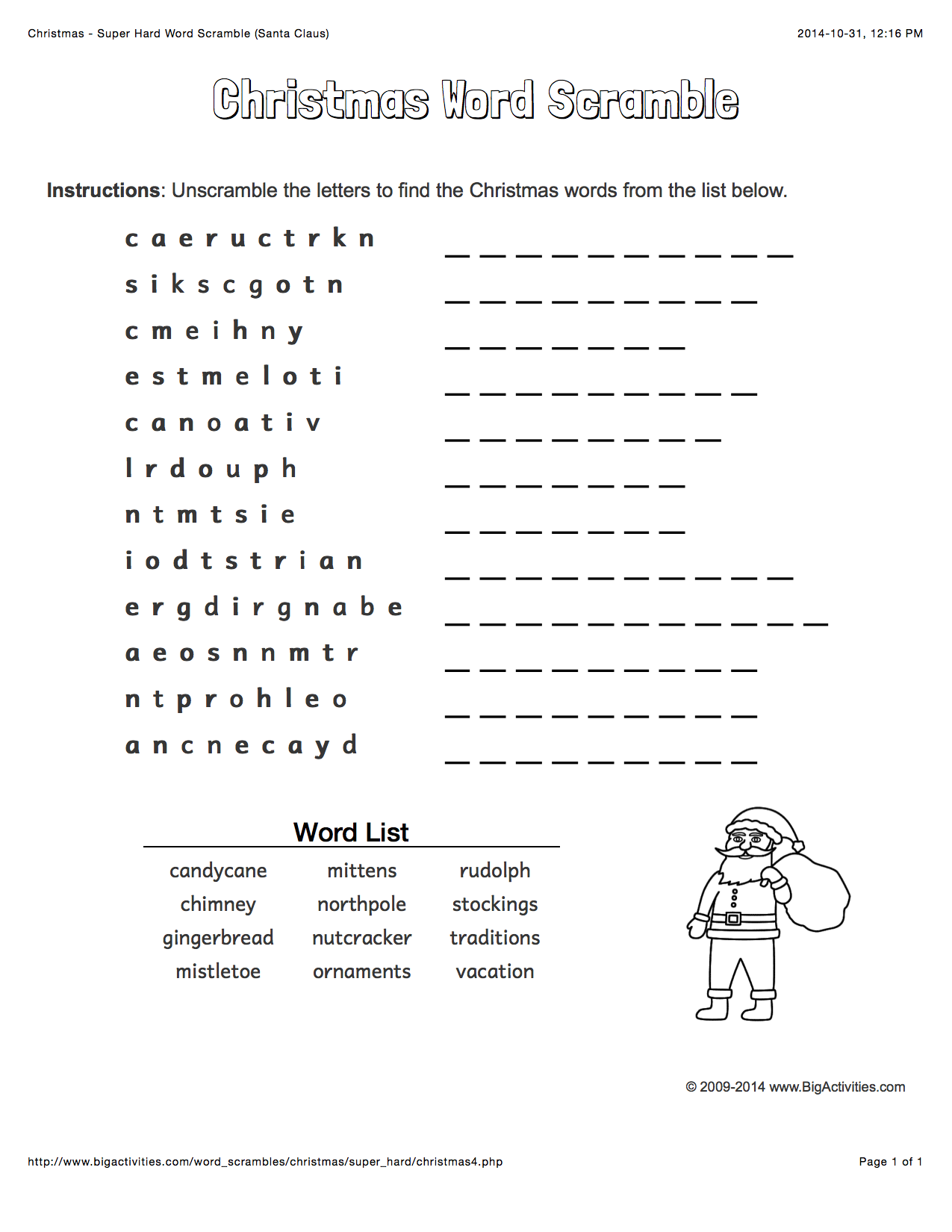 Christmas Word Scramble With Santa Claus. 4 Levels Of