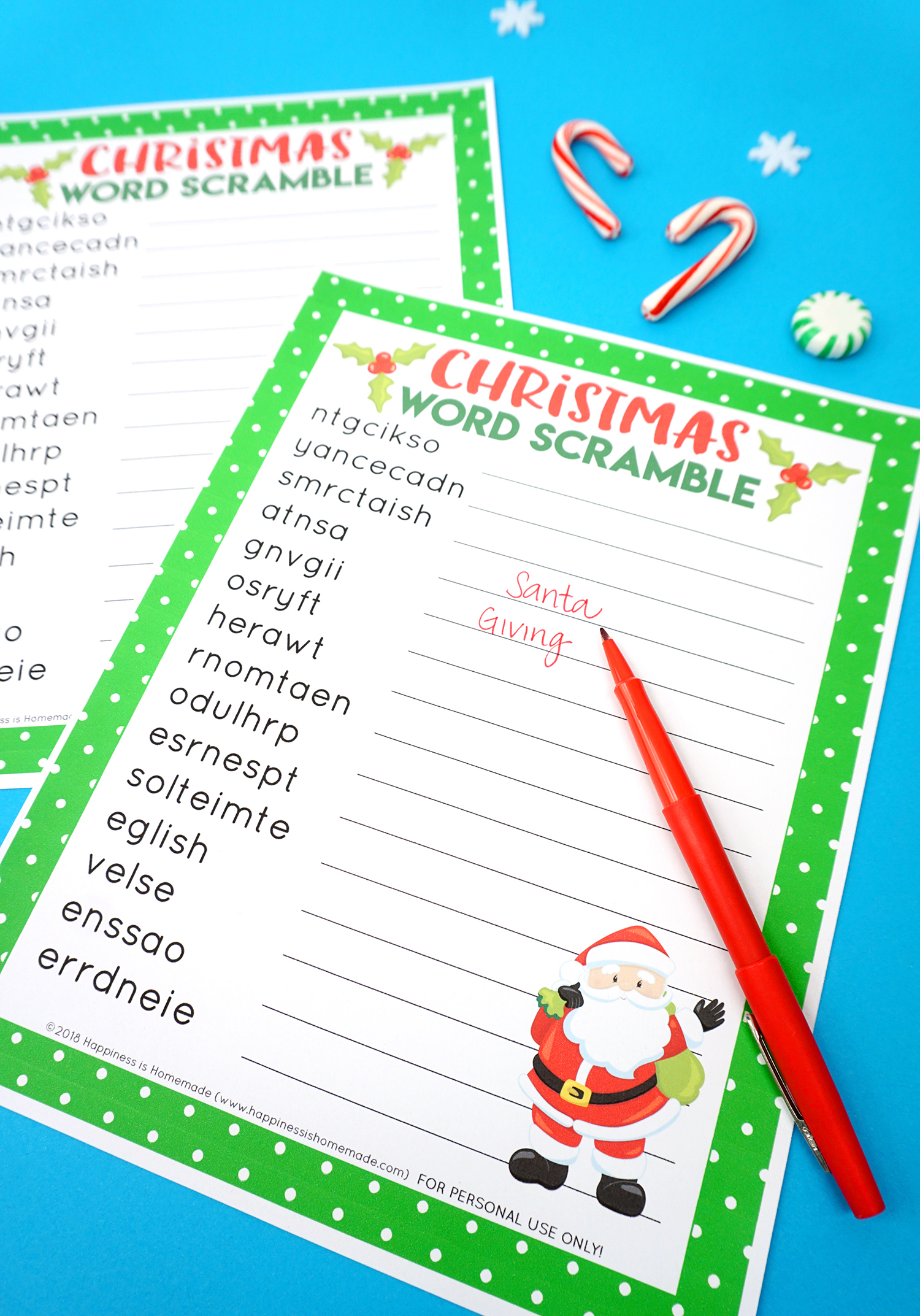 Christmas Word Scramble Worksheets With Answers   Printable