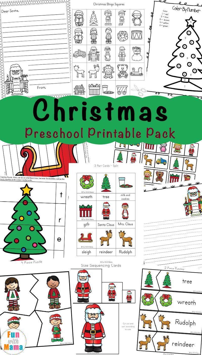 Christmas Worksheets For Preschoolers Free Printable