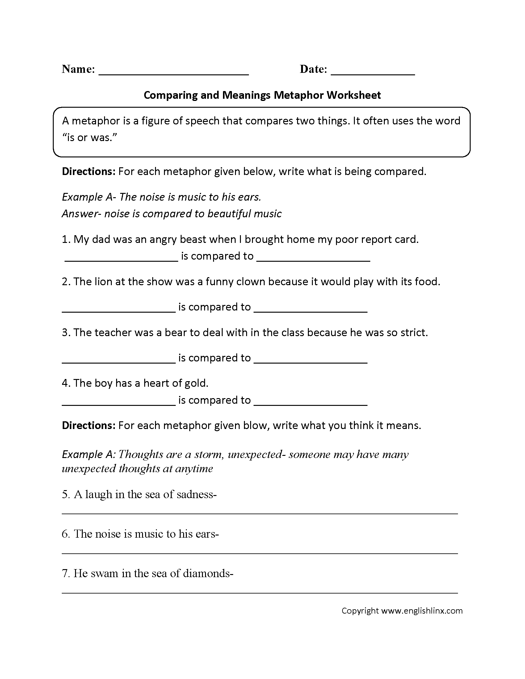 Comparing And Meanings Metaphor Worksheet In 2020 | Similes