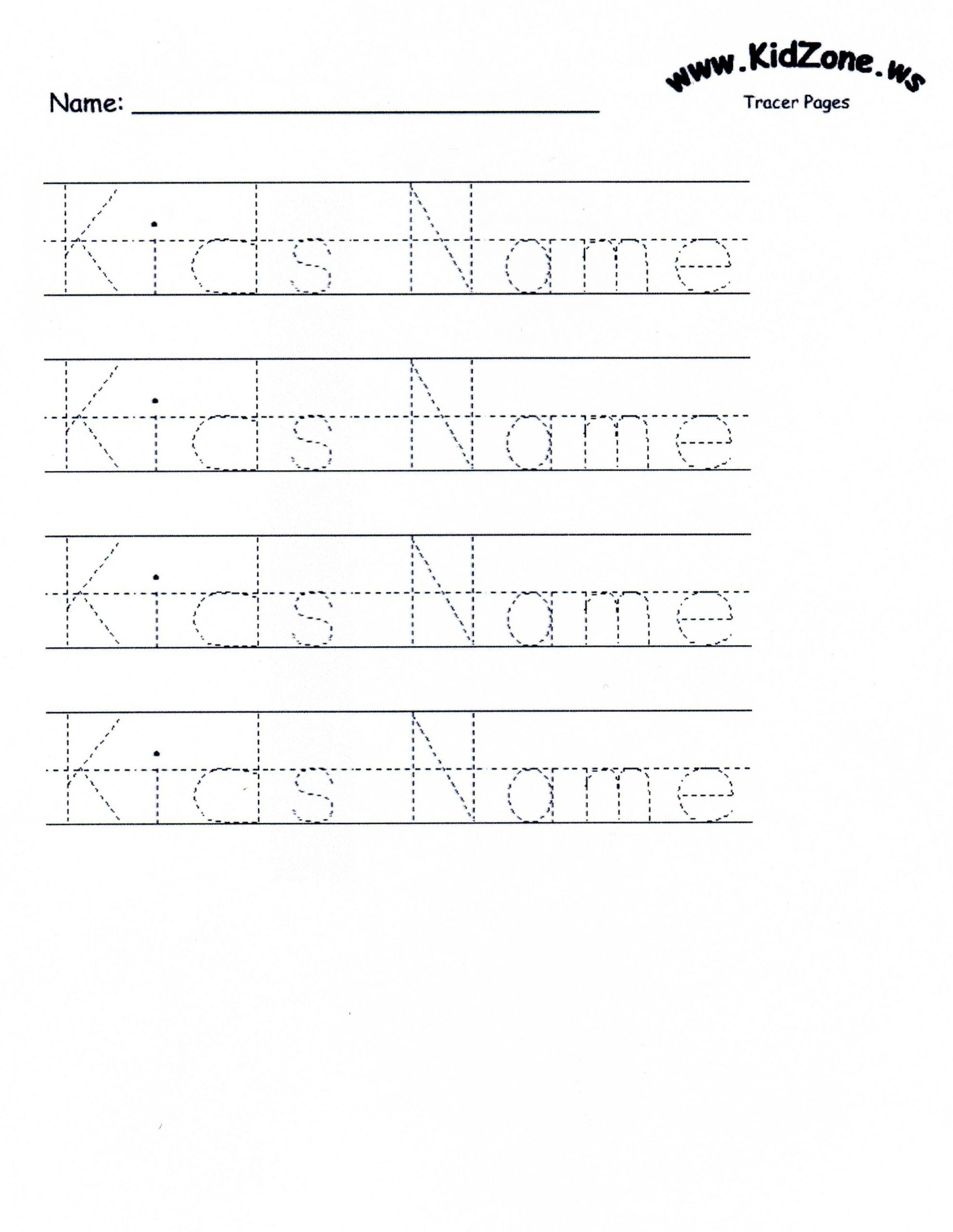 Custom Tracer Pages Name Tracing Worksheets Preschool