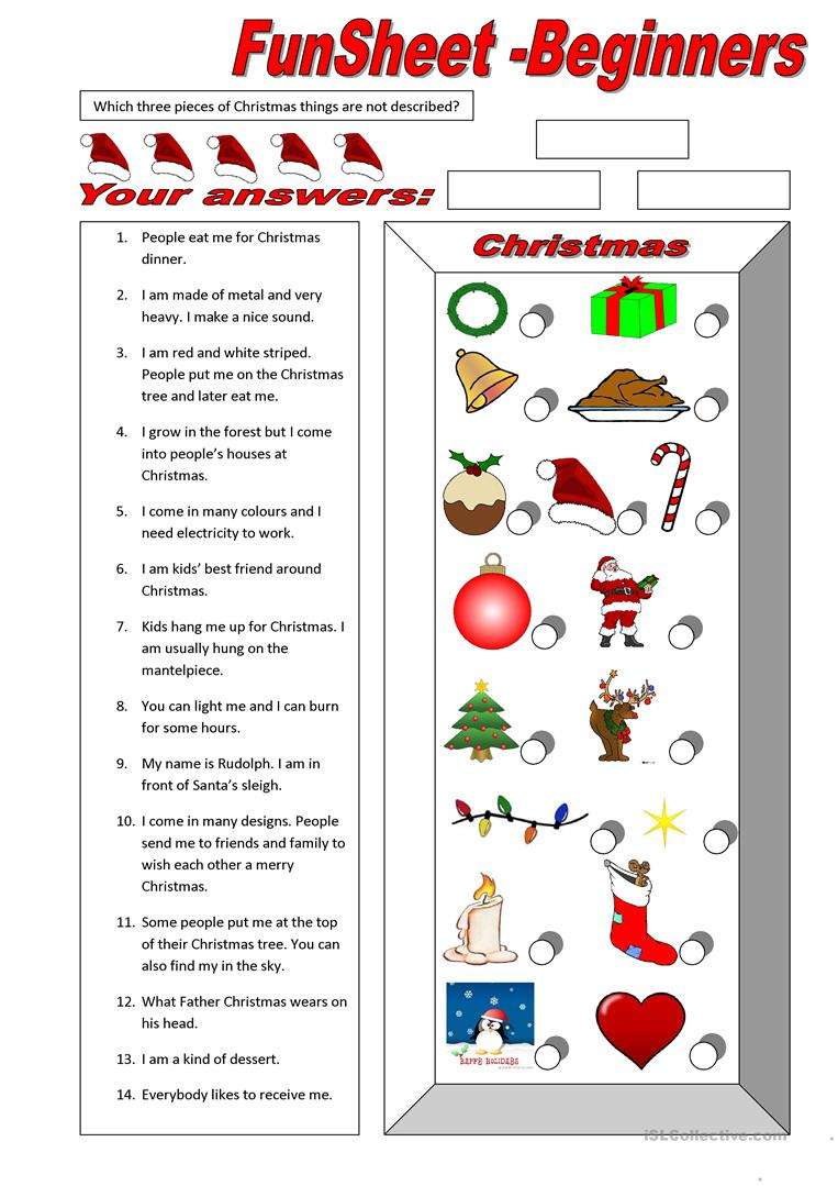 English Esl Christmas Worksheets - Most Downloaded (1028