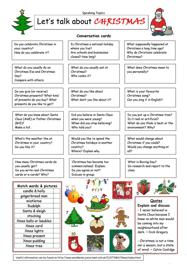 English Esl Christmas Worksheets - Most Downloaded (1029