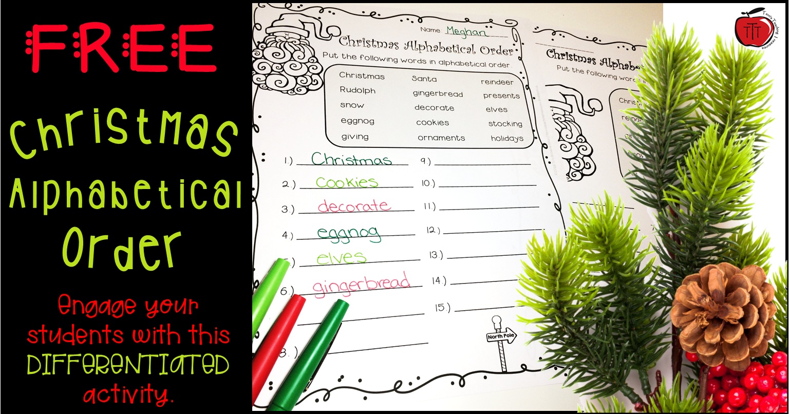 Free Christmas Alphabetical Order Worksheets - Classroom