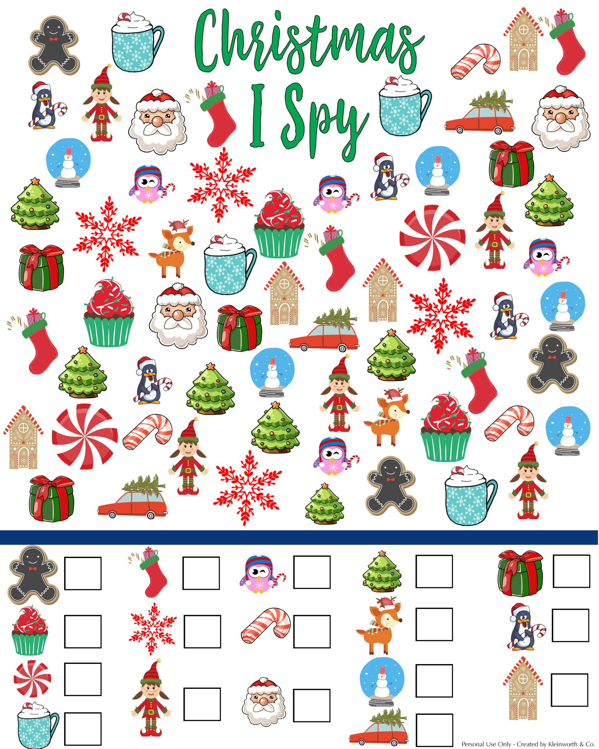 Free Christmas I Spy Printable - Kleinworth & Co