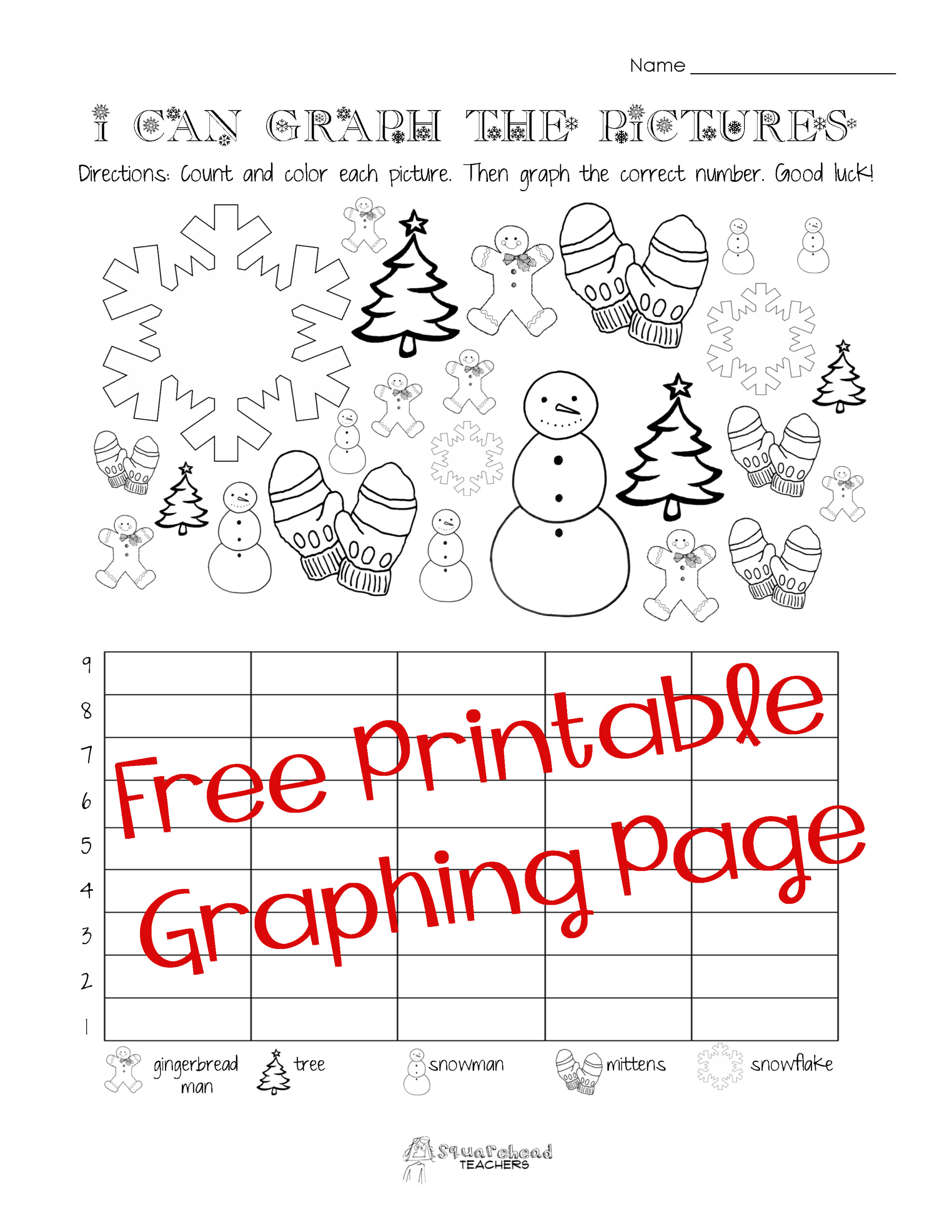 Free Christmas/winter Graphing Worksheet (Kindergarten