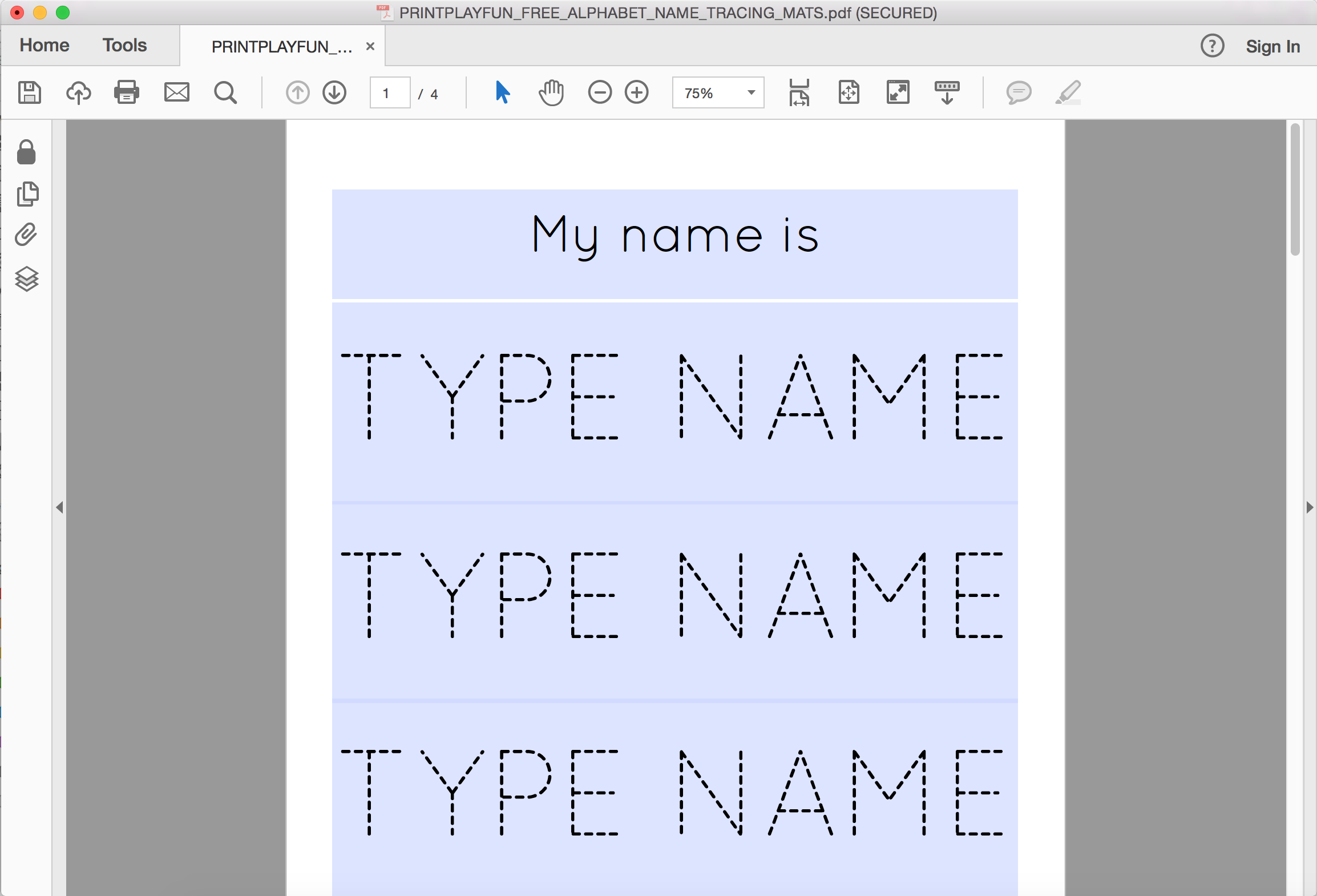 Free Name And Alphabet Tracing Mats | My Party Design