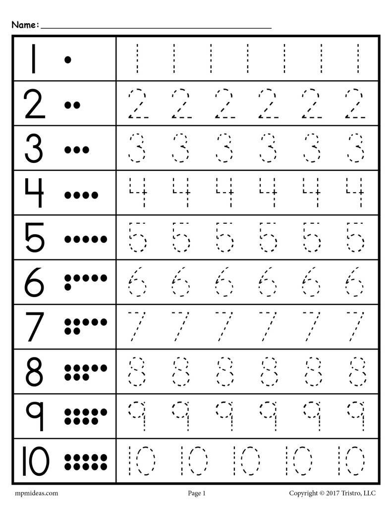 Free Tracing Number Worksheetsor Preschool Alphabet