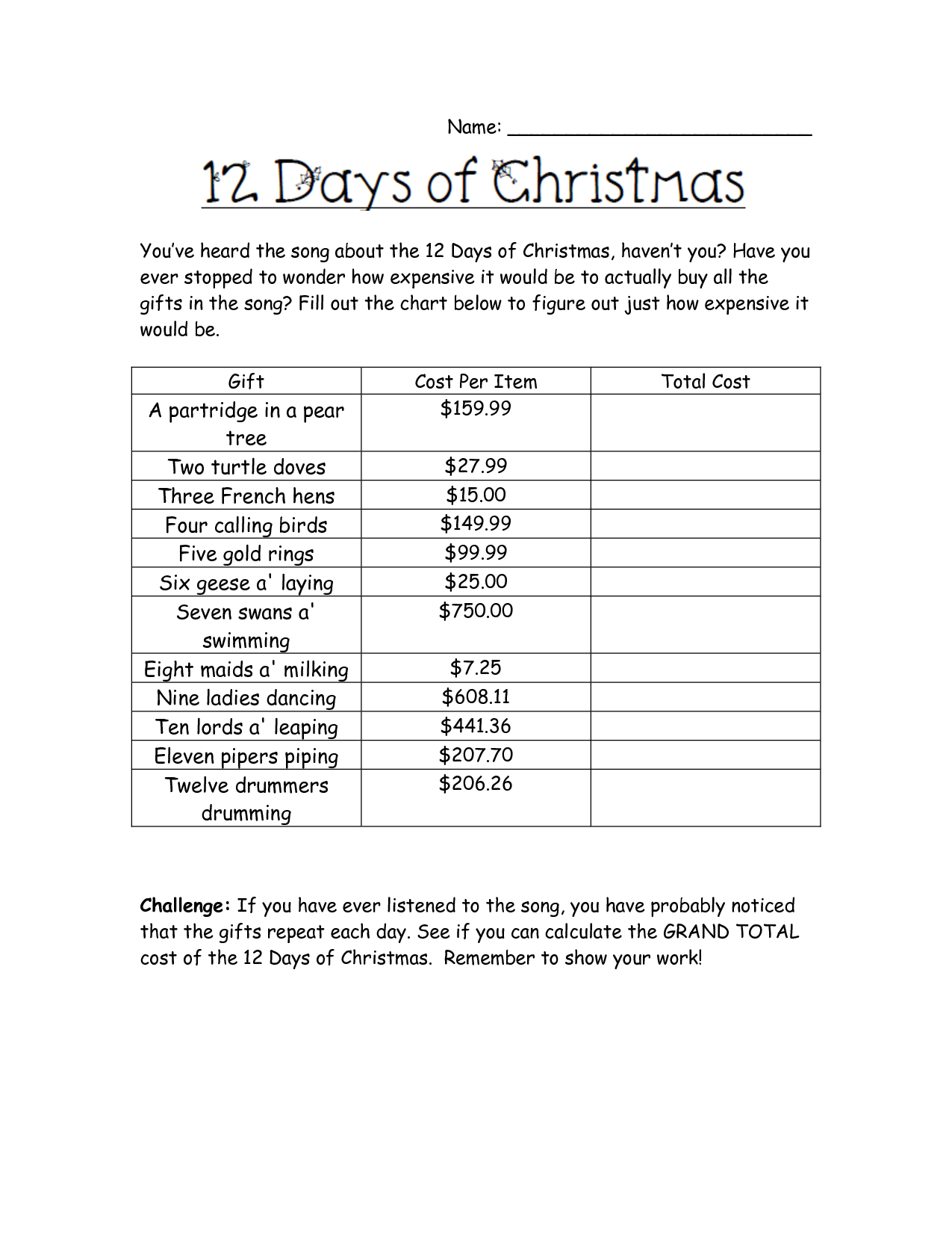 Holiday Math Worksheets | Cost Of Christmas Worksheet