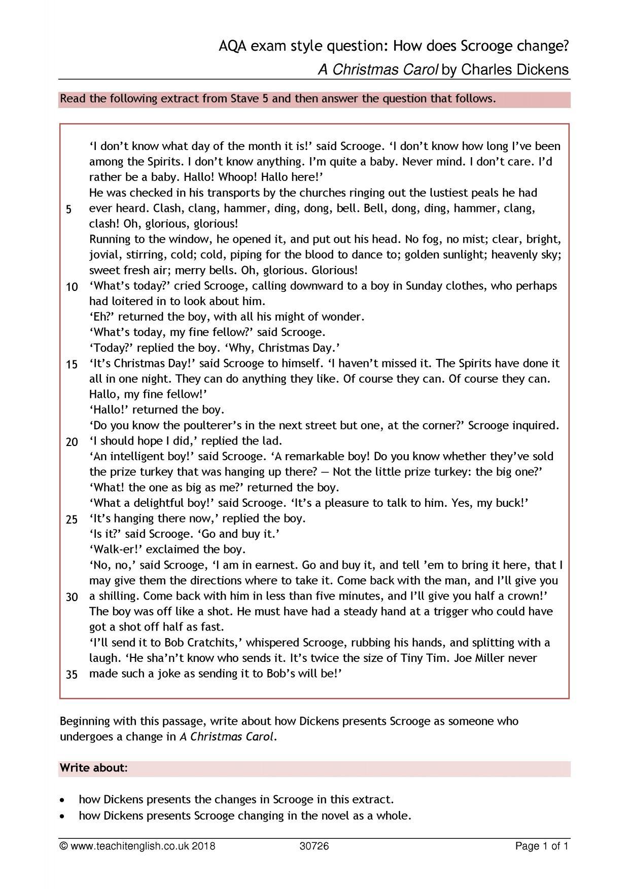 Ks4 Prose | A Christmas Carolcharles Dickens | Teachit