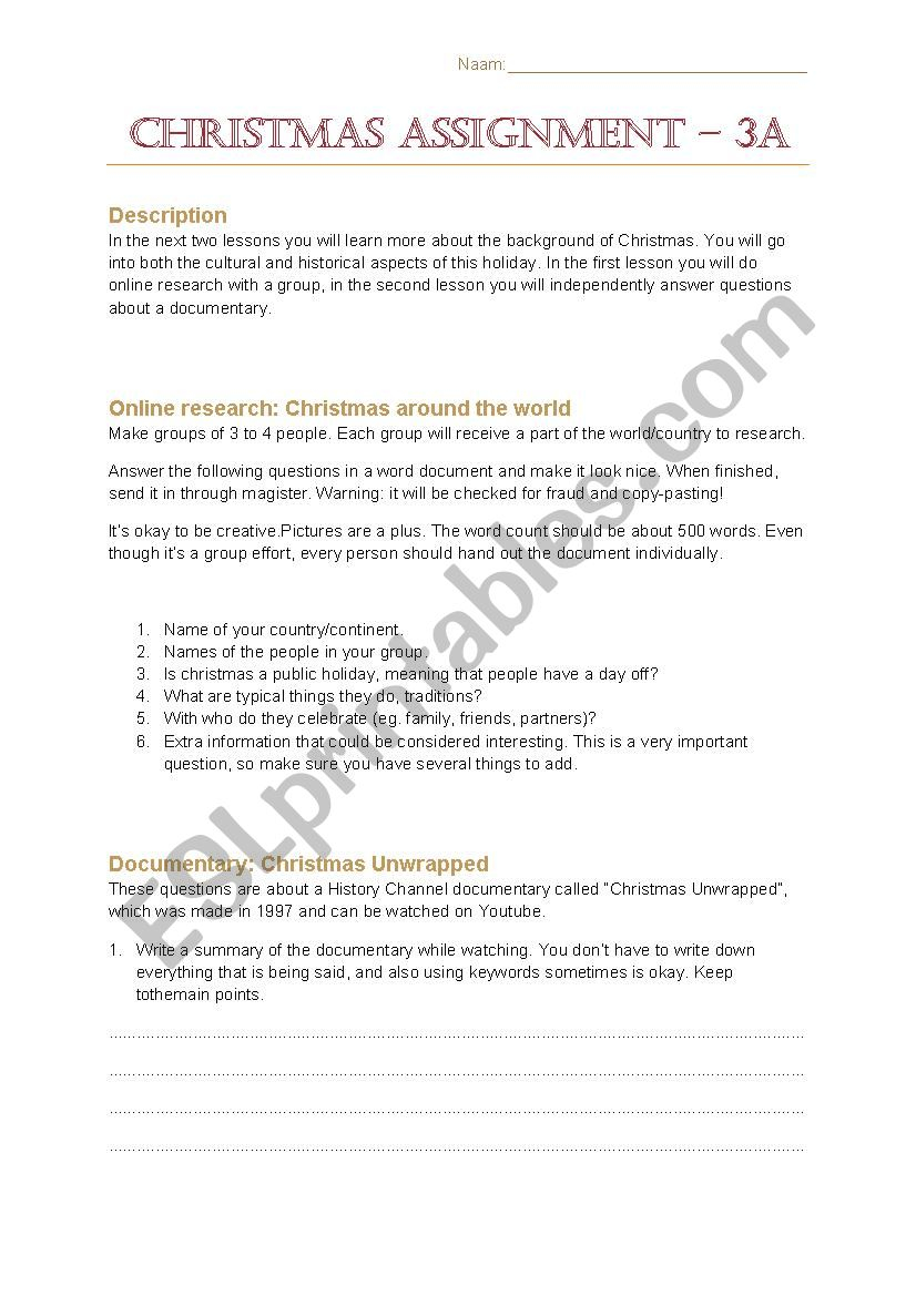 Learn About The Background Of Christmas - Esl Worksheet