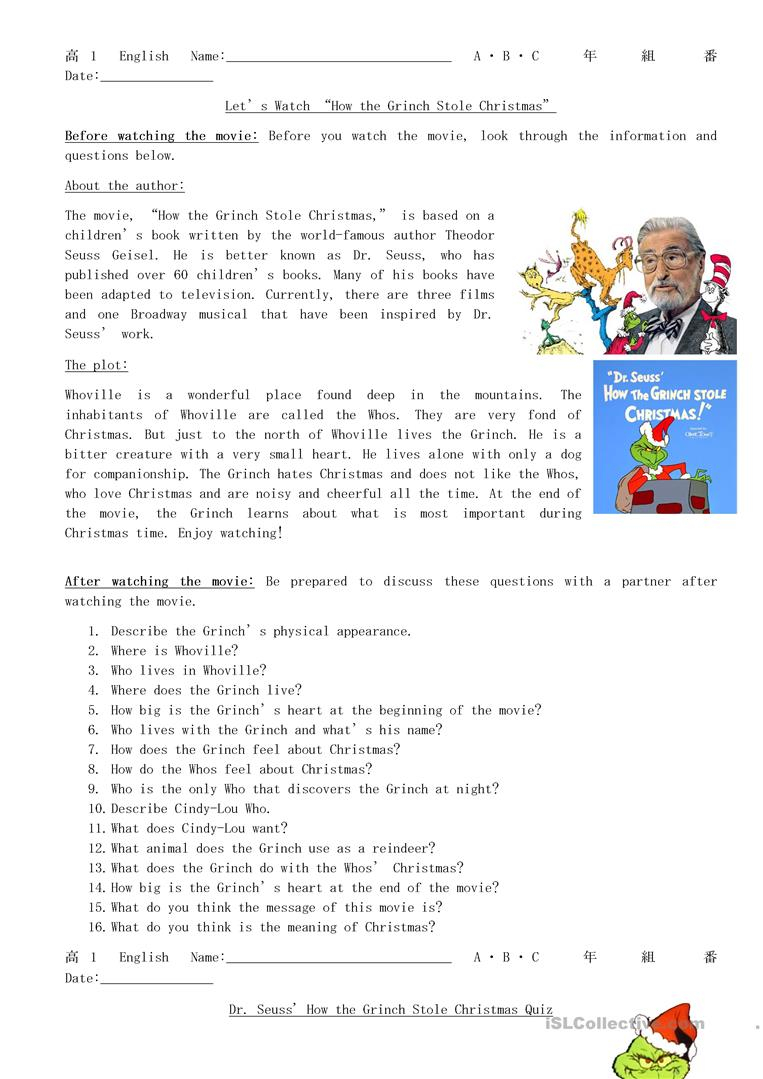 Let's Watch How The Grinch Stole Christmas - English Esl