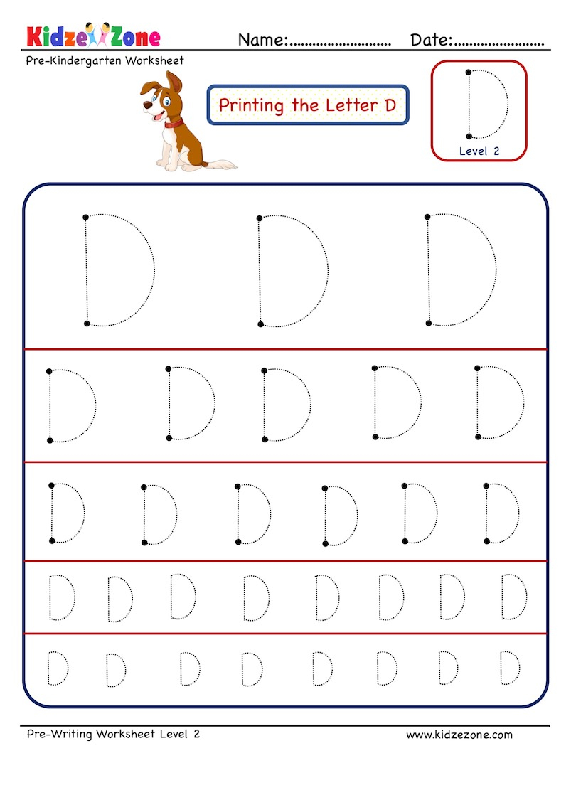 Letter D Tracing Worksheet - Different Sizes - Kidzezone