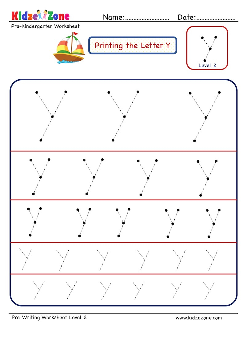 Letter Y Tracing Worksheet In Different Sizes- Kidzezone