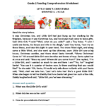 Little Girl's Christmas Second Grade Reading Worksheets