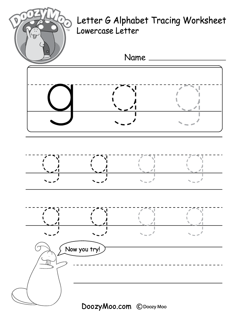 "Lowercase Letter ""g"" Tracing Worksheet - Doozy Moo"