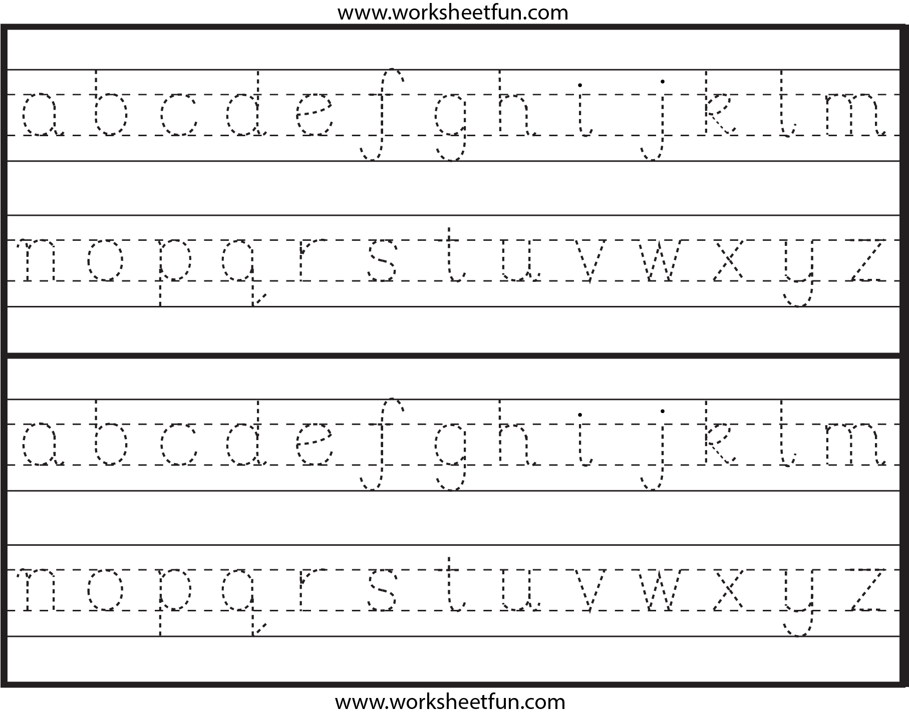 Lowercase Letter Tracing – 1 Worksheet / Free Printable