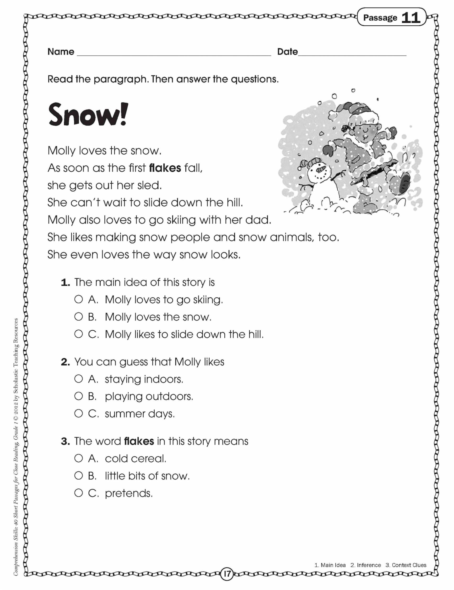 Math Worksheet : 3Rd Grade Reading Comprehensions Multiple