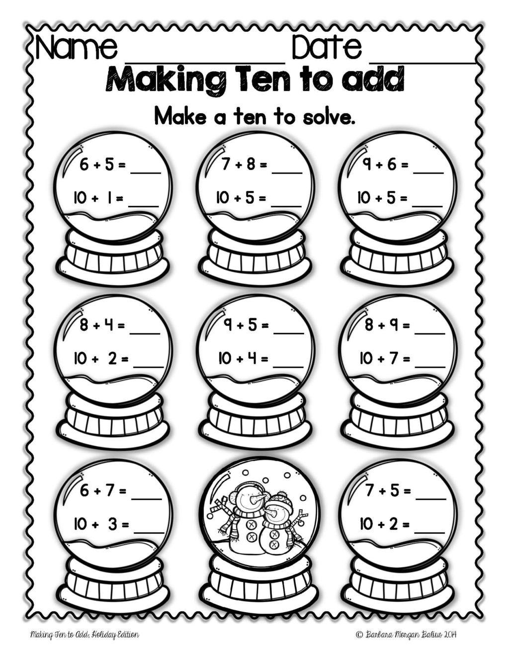 Math Worksheet ~ Christmas Math Making Ten To Mega Holiday