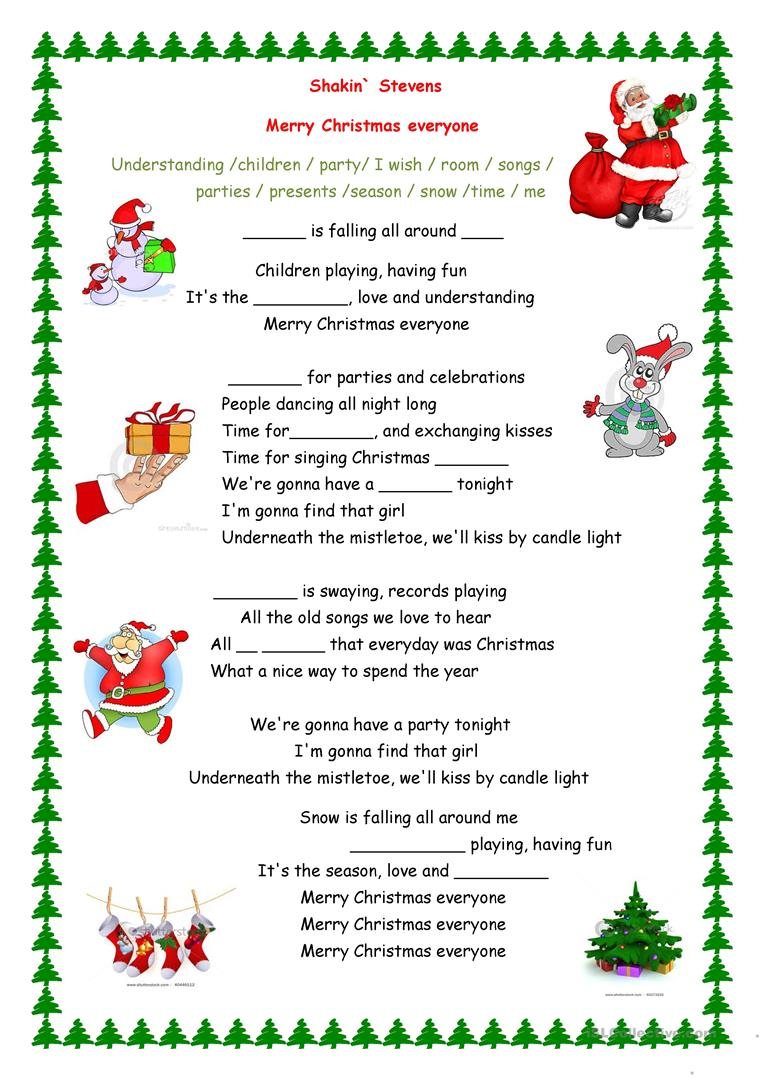 Merry Christmas Everyone Song - English Esl Worksheets For