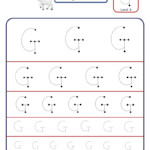 Preschool Letter G Tracing Worksheet - Different Sizes