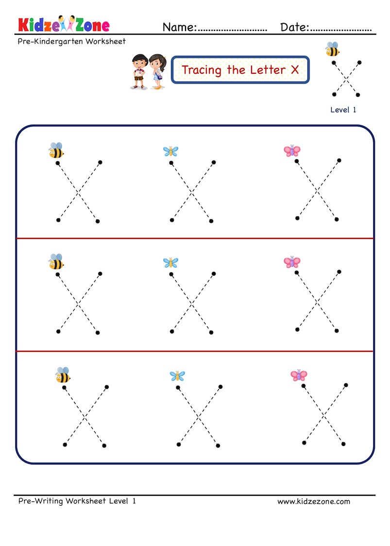 Preschool Letter X Tracing Worksheet, Big Font - Kidzezone