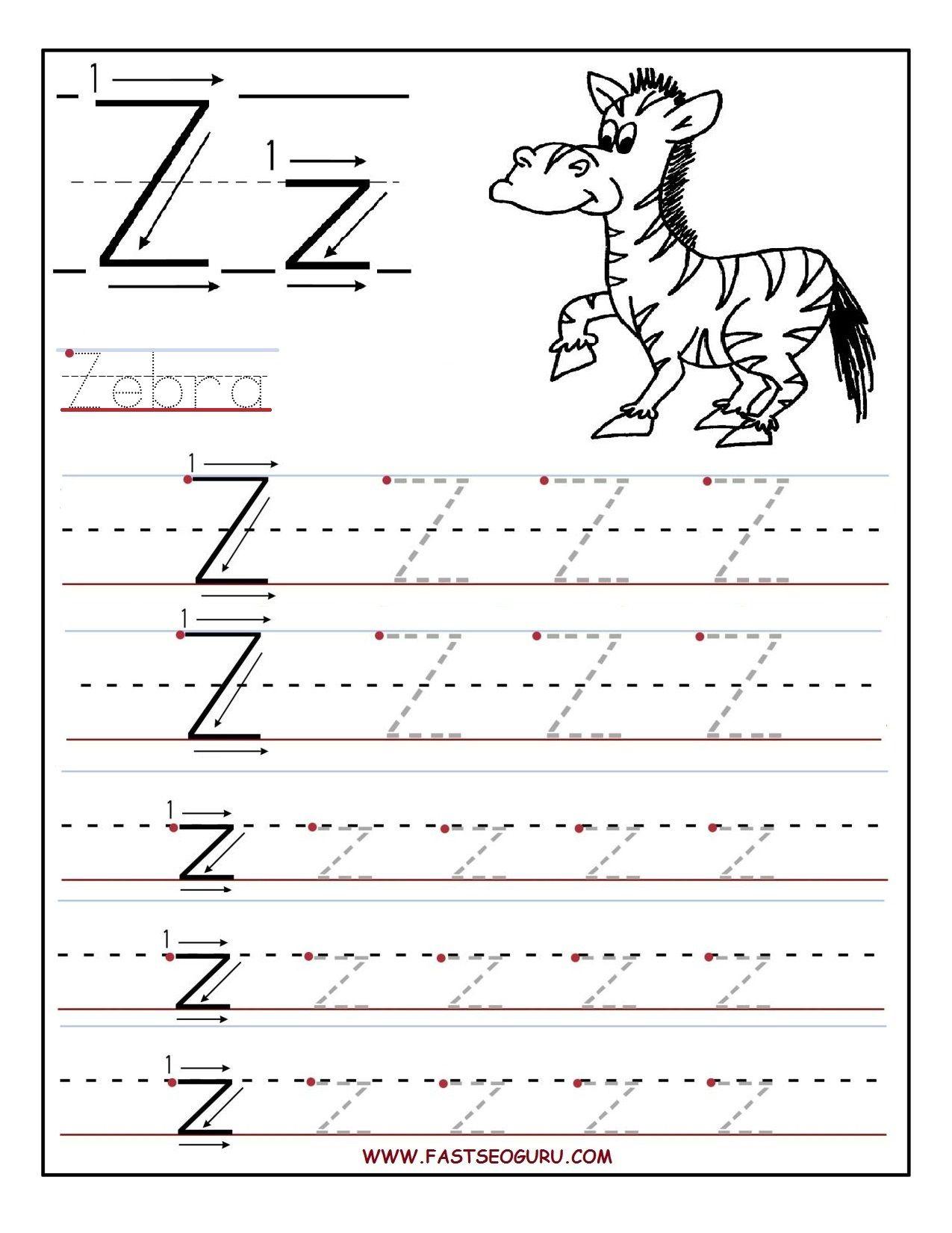 Printable Letter Z Tracing Worksheets For Preschool | Letter