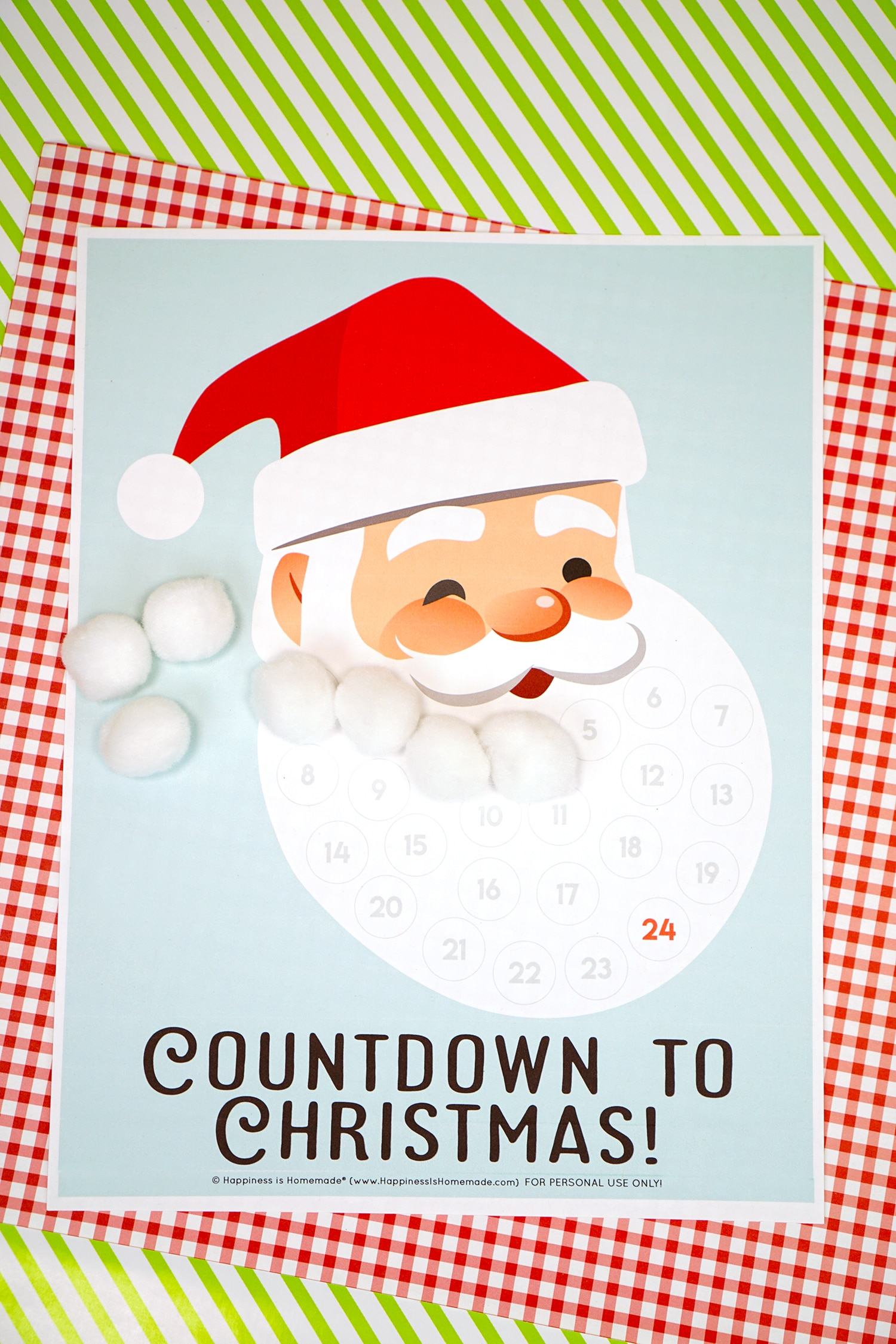 Santa Christmas Countdown Printable - Happiness Is Homemade