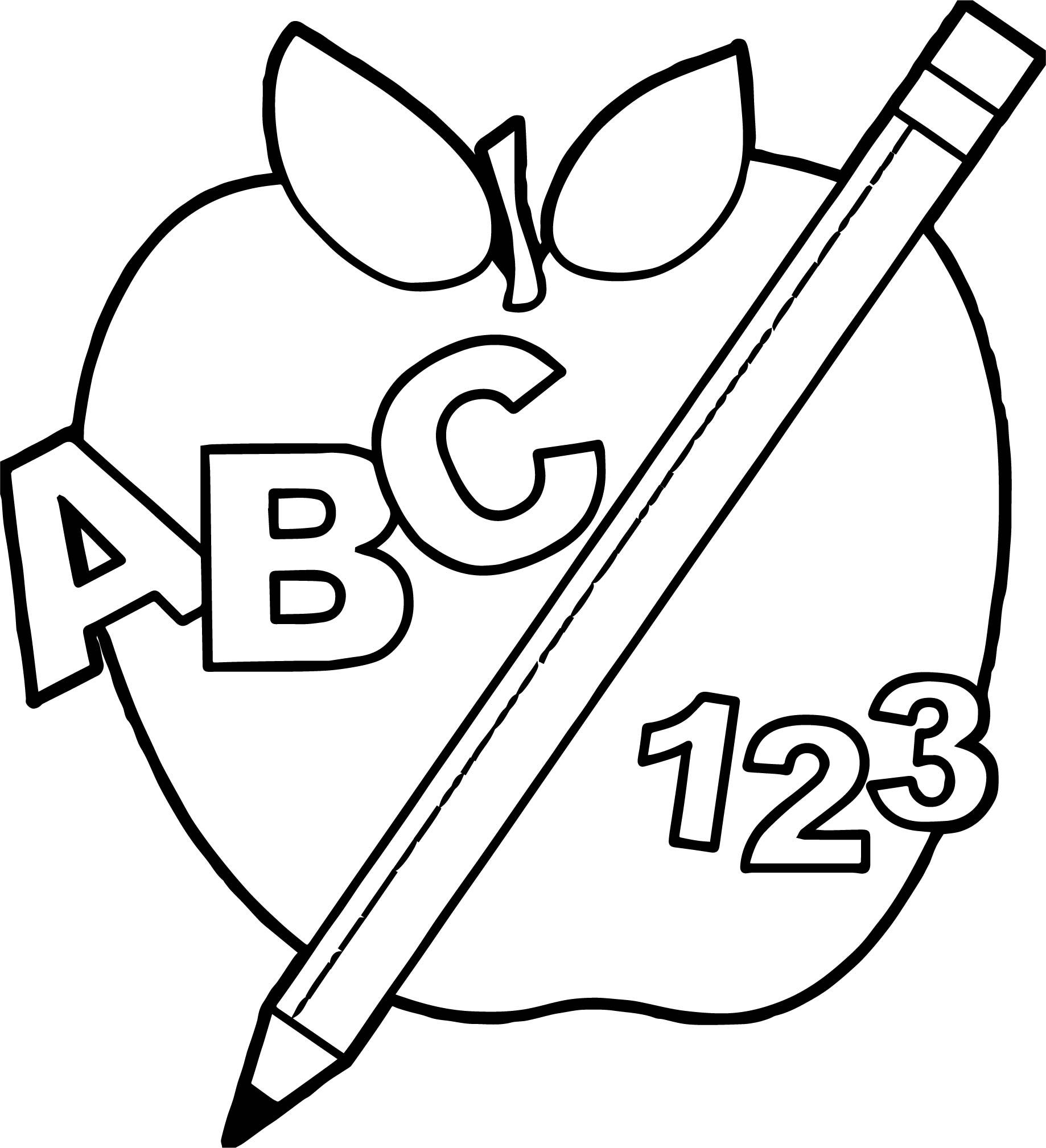 School Back To Apple And Pencil Teach Coloring Abcteach