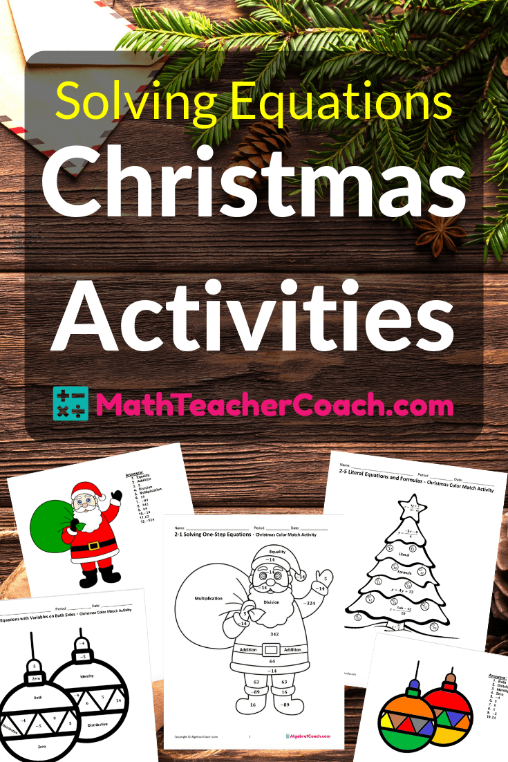 Solving Equations Christmas Coloring Worksheets ⋆ Algebra 1