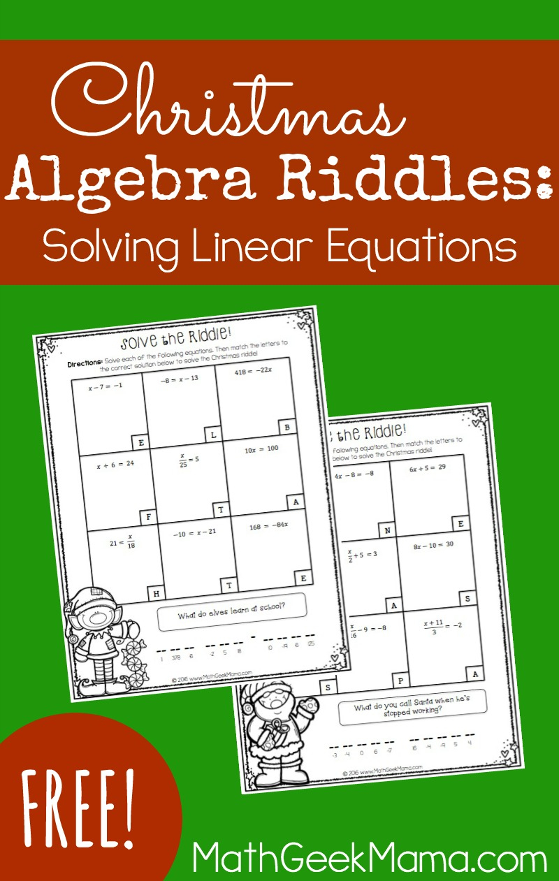 Solving Linear Equations Activity Pages-Christmas Theme {Free}
