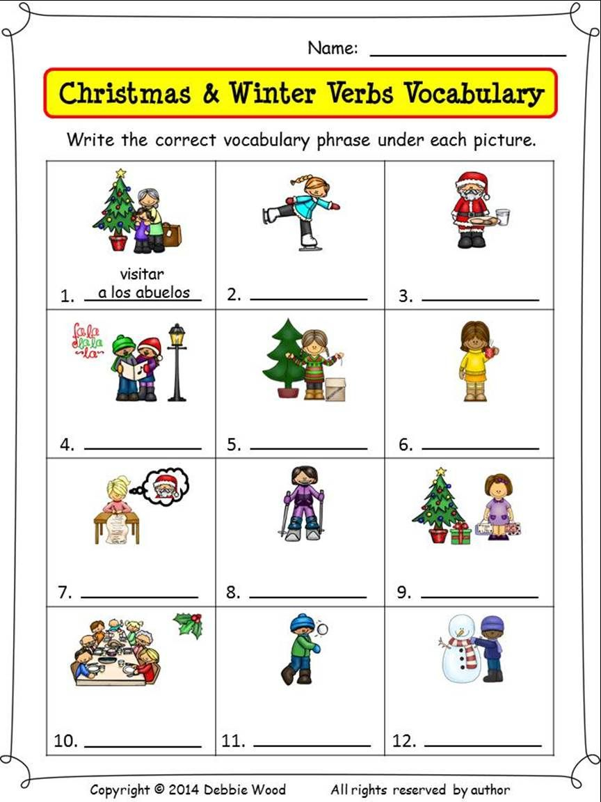 Spanish Christmas Worksheets And Conversation Cards