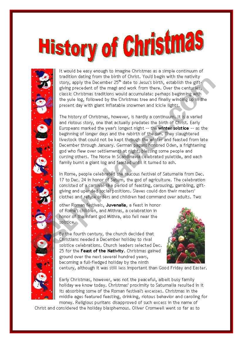 The History Of Christmas - 4 Pages - Esl Worksheetmarsala