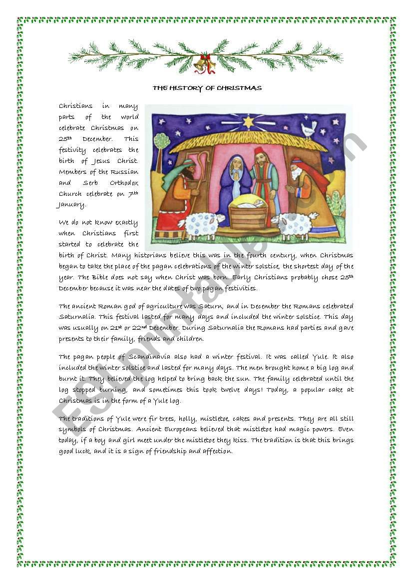 The History Of Christmas Part One - Esl Worksheetmaguyre