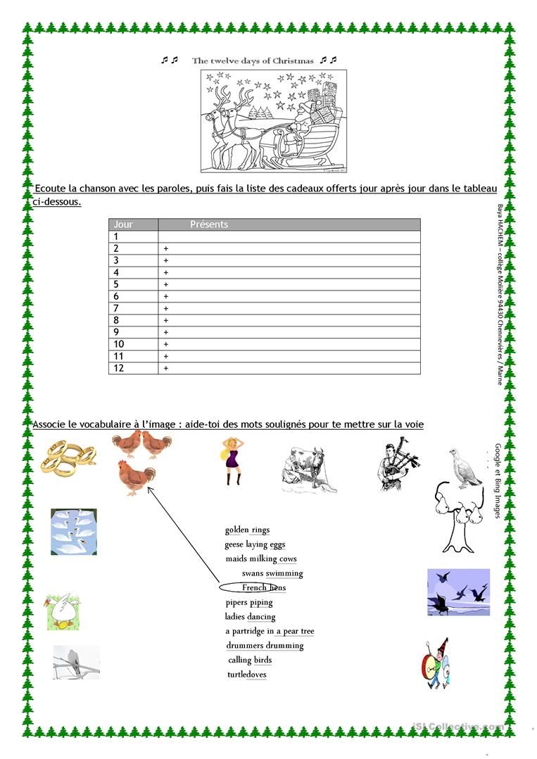 The Twelve Days Of Christmas Worksheet - English Esl