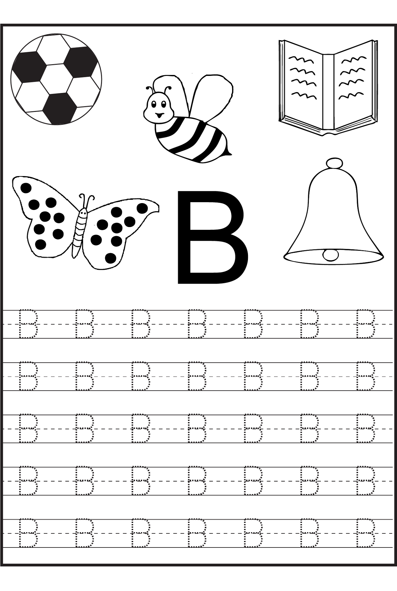 Trace Letter B Worksheets | Activity Shelter