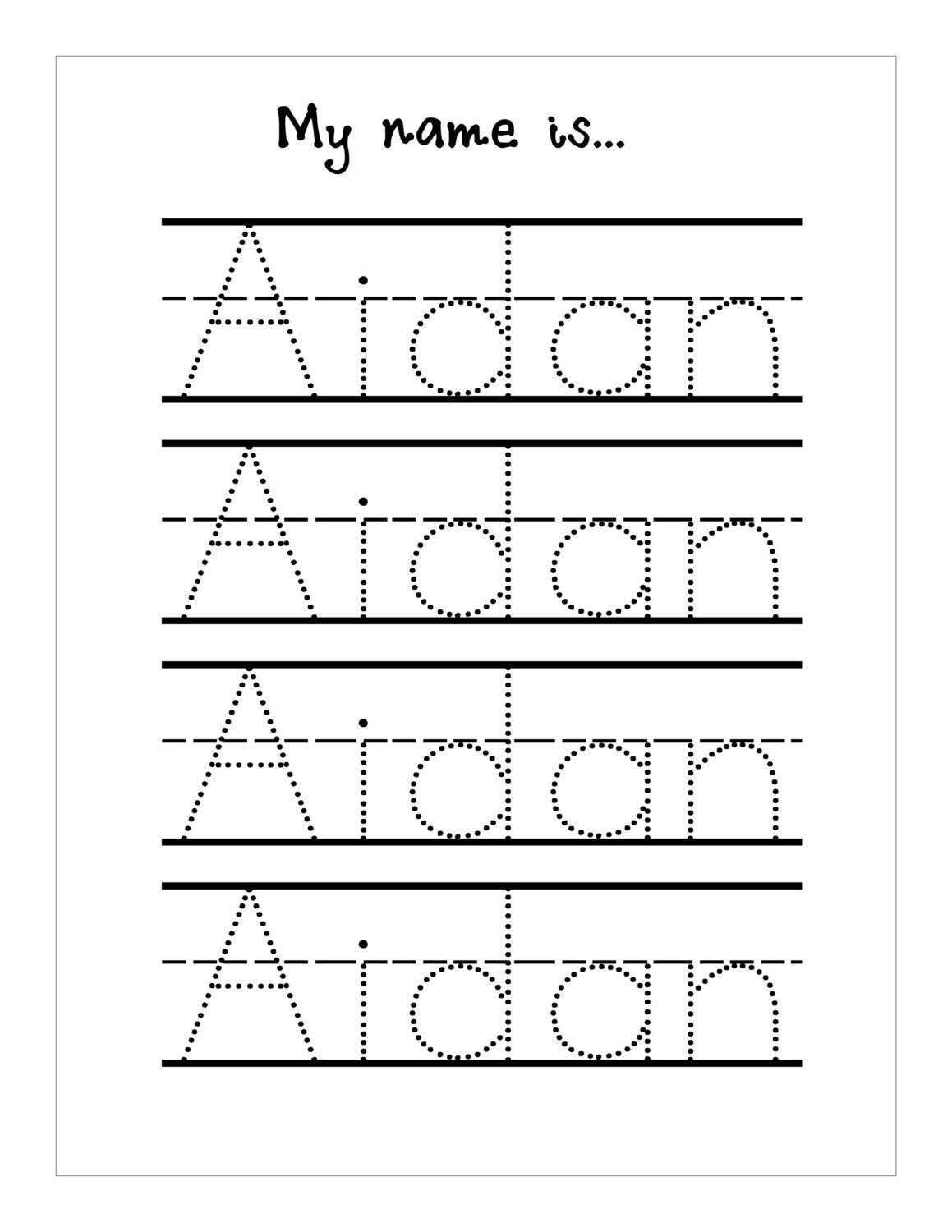 Traceable Names Worksheets | Name Tracing Worksheets
