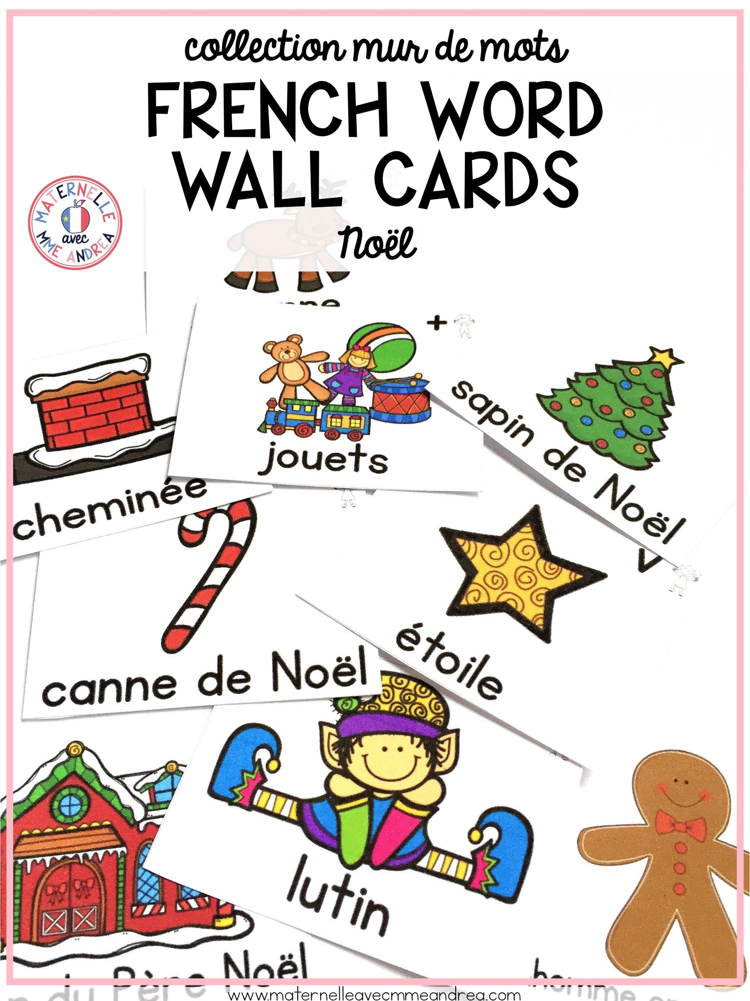 28 Different French Christmas Word Wall Cards, In Both