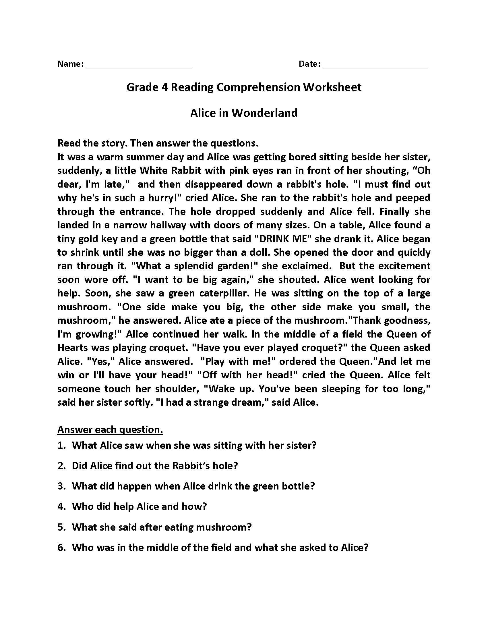 4Th Grade Reading Comprehension Worksheets - Best Coloring