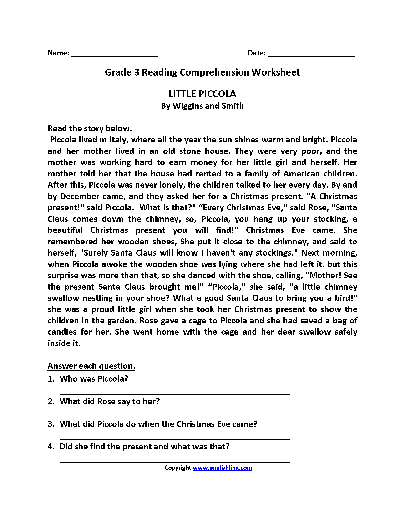 59 Incredible Free Reading Comprehension Worksheets Third